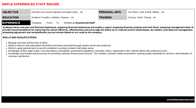 Experienced Staff Resume Template (#1993)
