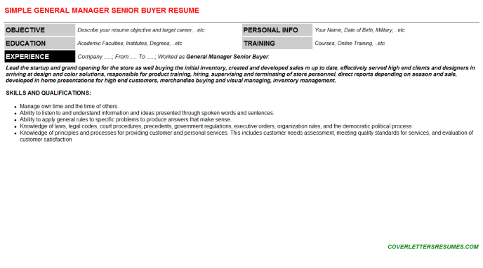 General Manager Senior Buyer Resume Template (#47493)