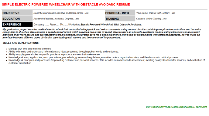 Electric Powered Wheelchair With Obstacle Avoidanc Resume Template