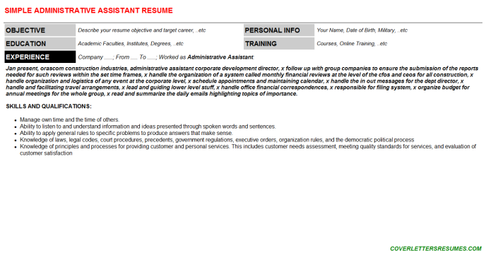 Administrative Assistant Resume Template (#52994)