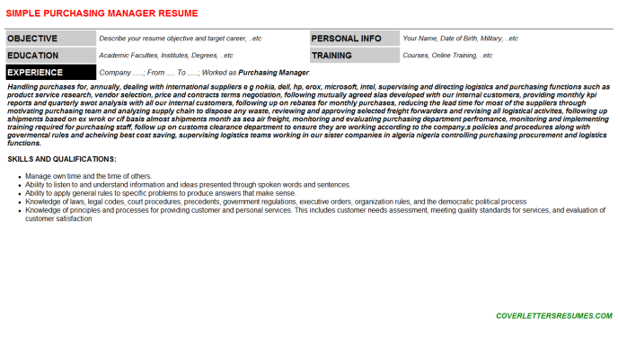 Purchasing Manager Resume Template (#995)