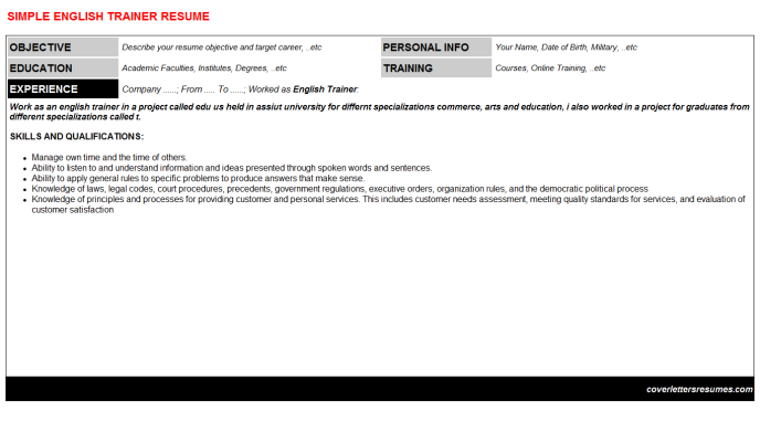 English Trainer Resume Template