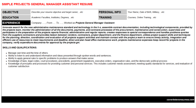 Projects General Manager Assistant Resume Template