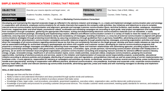 Marketing Communications Consultant CV Cover Letter & Resume Template