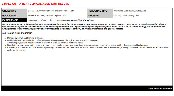 Outpatient Clinical Assistant Resume Template