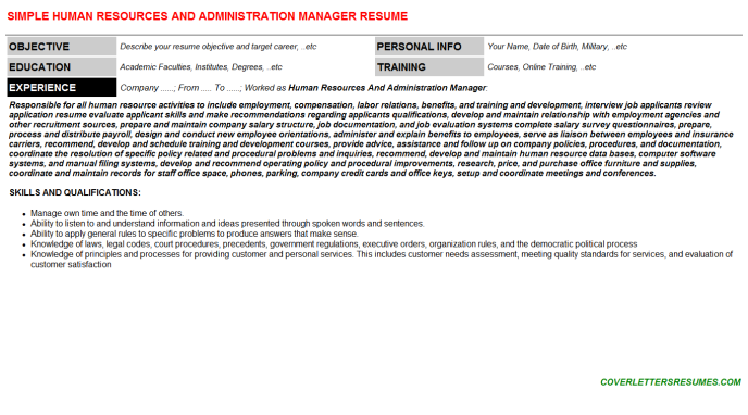 Human Resources And Administration Manager Resume Template