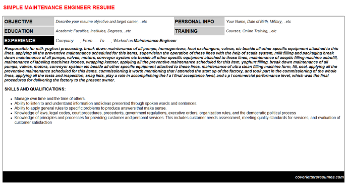 Maintenance Engineer CV Cover Letter & Resume Template ...
