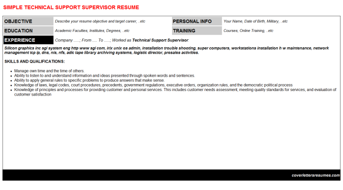 Technical Support Supervisor Resume Template (#999)
