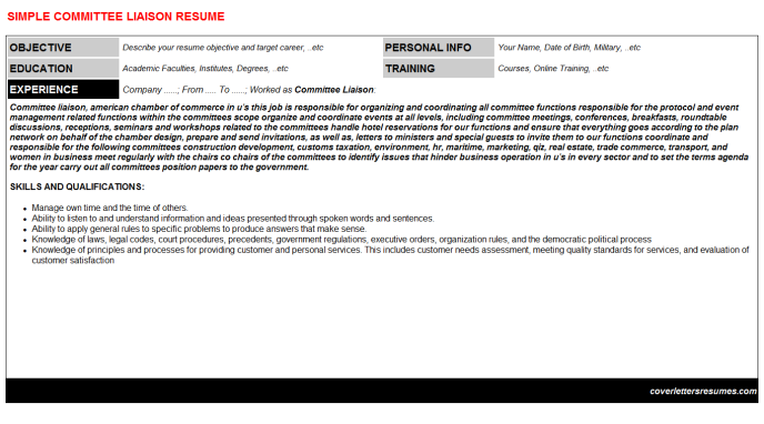 Committee Liaison Resume Template