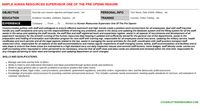 Human Resources Supervisor One Of The Pre Openin Resume Template (#69550)