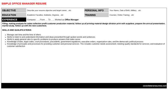 Office Manager Resume Template (#20550)