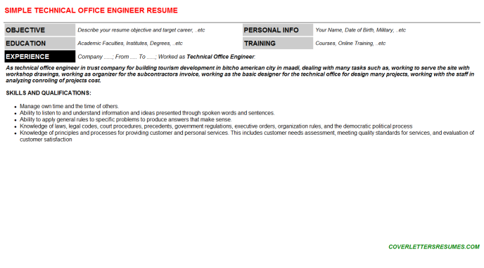 Technical Office Engineer Resume Template (#550)