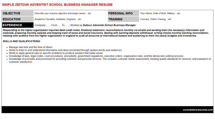Zeitoun Adventist School Business Manager Resume Template