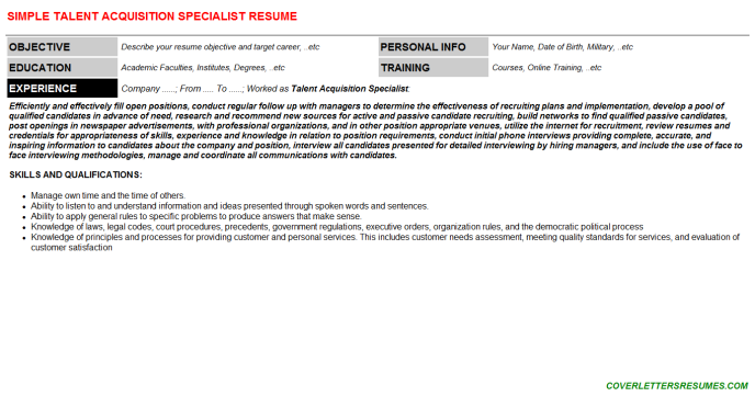 Talent Acquisition Specialist CV Cover Letter & Resume Template