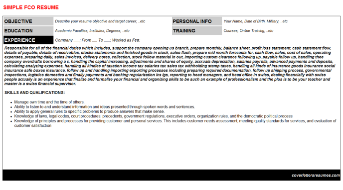 Fco Resume Template
