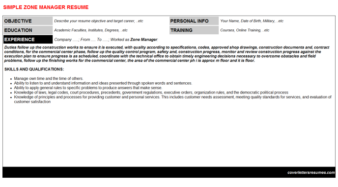 Zone Manager Resume Template