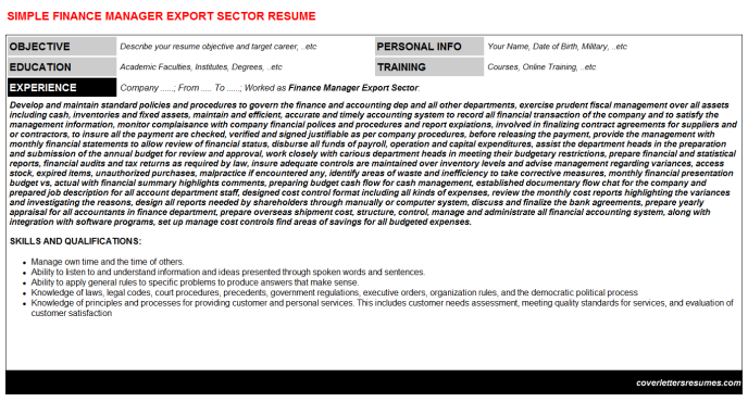 Finance Manager Export Sector Resume Template (#1555)