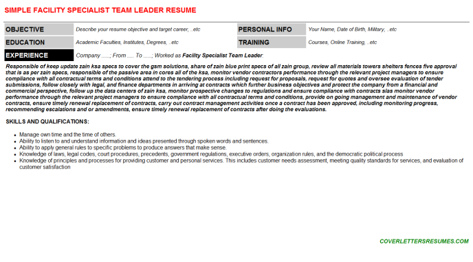 Facility Specialist Team Leader Resume Template