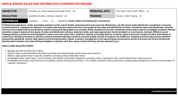 Senior Sales And Distribution Coordinator CV Cover Letter ...