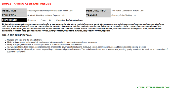 Training Assistant Resume Template (#57558)