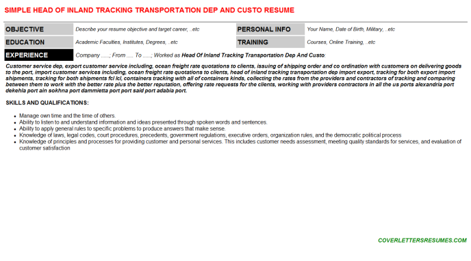 Head Of Inland Tracking Transportation Dep And Custo Resume Template