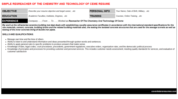 Resreacher Of The Chemistry And Technology Of Ceme Resume Template