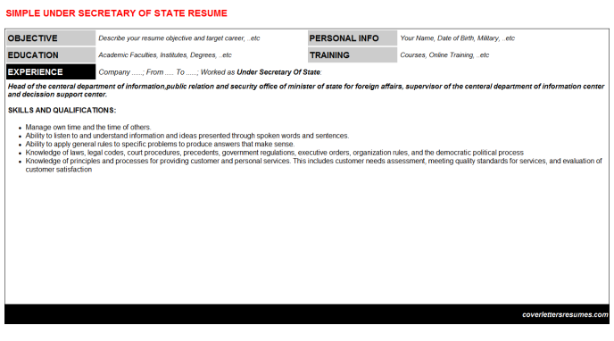 Under Secretary Of State Resume Template
