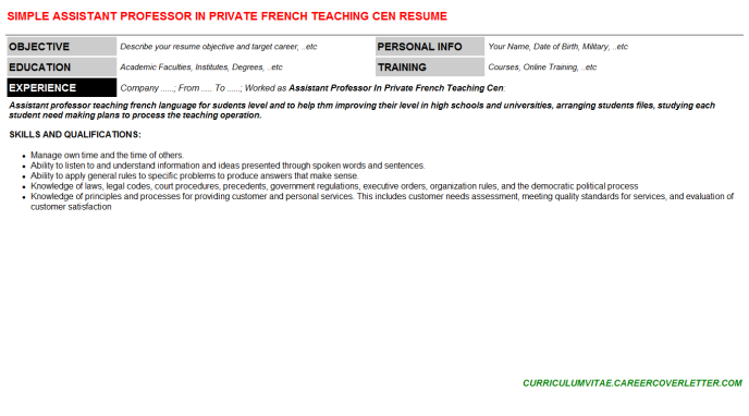 Assistant Professor In Private French Teaching Cen Resume Template (#73505)