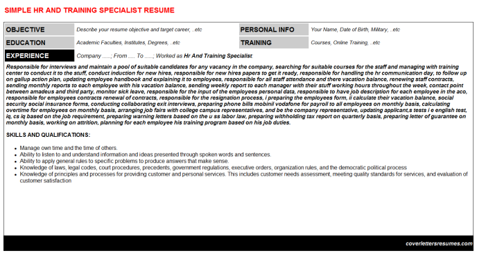 Hr And Training Specialist Resume Template