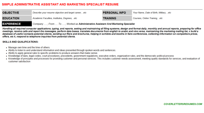 Administrative Assistant And Marketing Specialist Resume Template (#559)