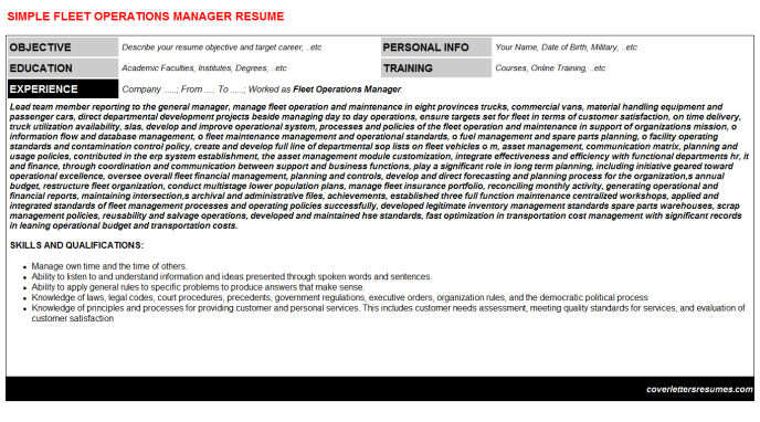Fleet Operations Manager CV Cover Letter Resume Template