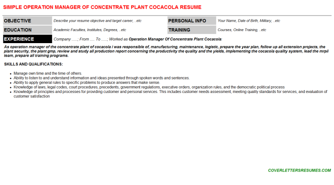 Operation Manager Of Concentrate Plant Cocacola Resume Template (#119060)