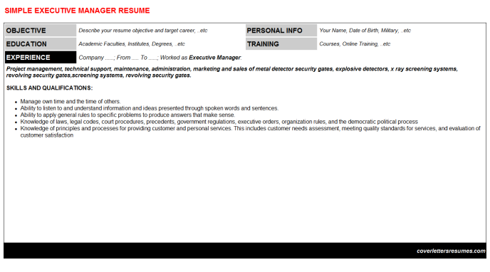 Executive Manager Resume Template
