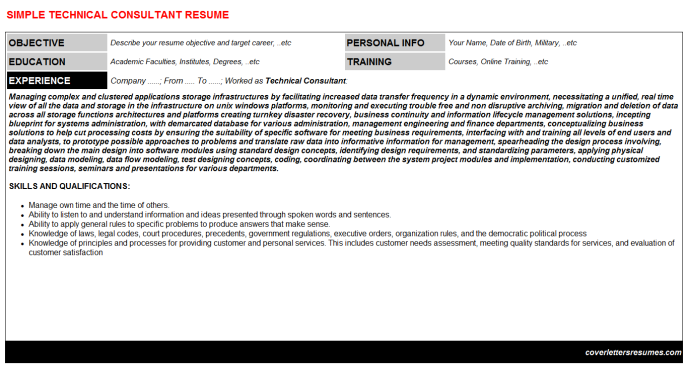 Technical Consultant Resume Template