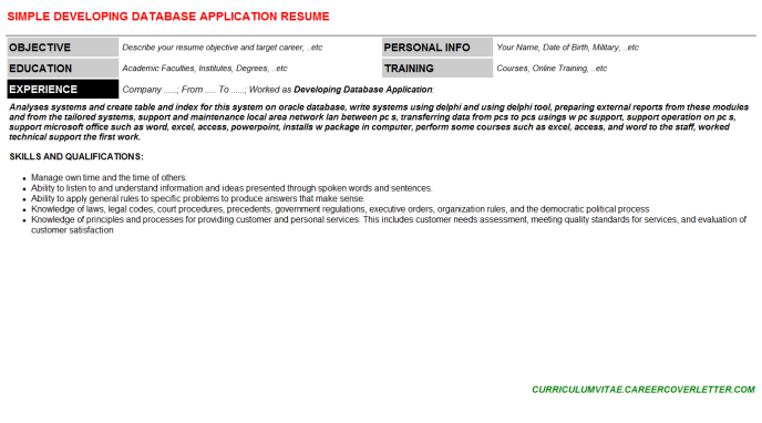 Developing Database Application Resume Template