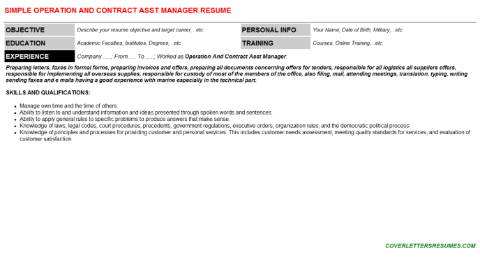 Operation And Contract Asst Manager Resume Template