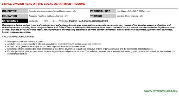 Division Head At The Legal Department Resume Template