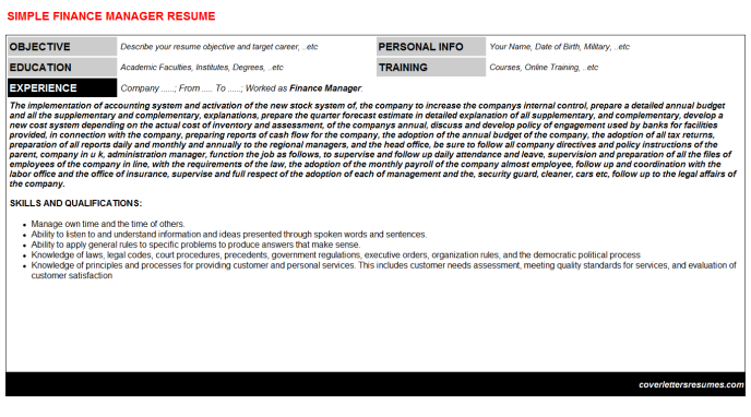 Finance Manager Resume Template (#1564)