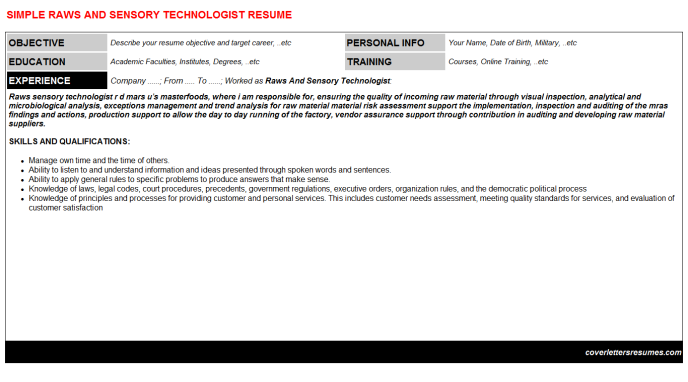 Raws And Sensory Technologist Resume Template