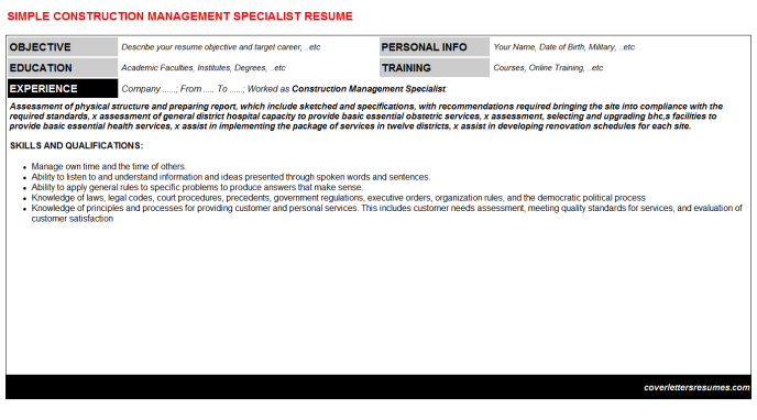 Construction Management Specialist Resume Template (#40565)