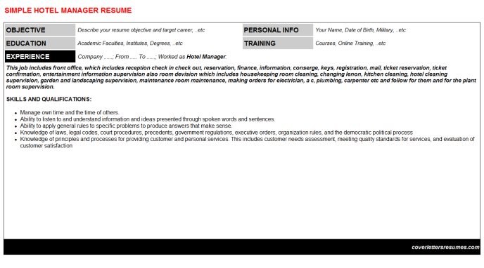 Hotel Manager Resume Template (#5065)