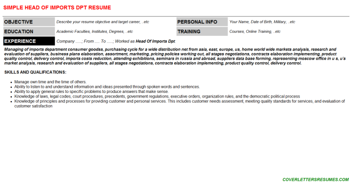 Head Of Imports Dpt Resume Template