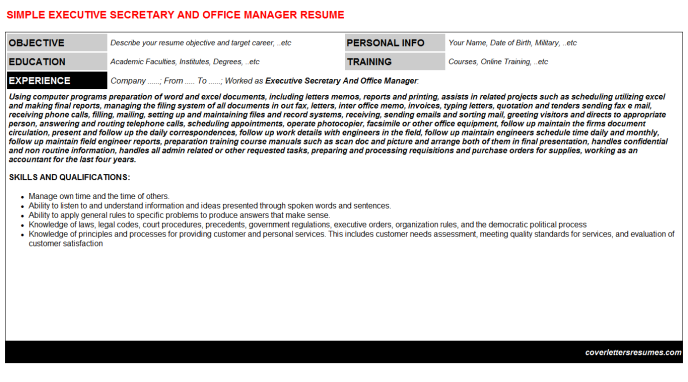 Executive Secretary And Office Manager Resume Template