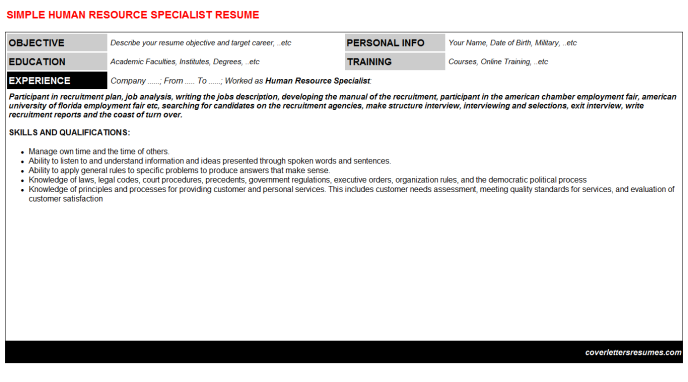 Human Resource Specialist Resume Template