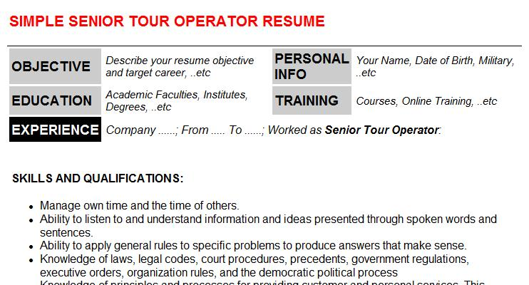 Senior Tour Operator Resume