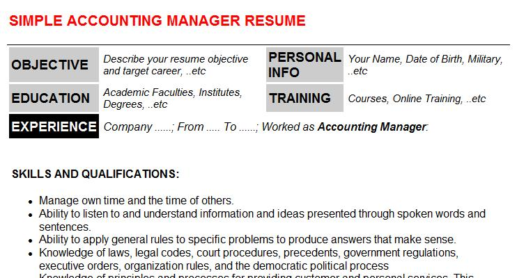 accounting manager cv cover letter & resume