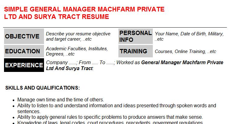 General Manager Machfarm Private Ltd And Surya Tract Resume Template (#12075)