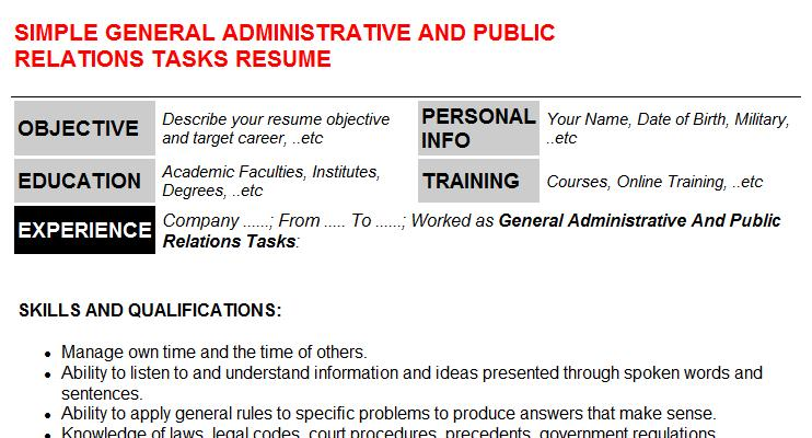 General Administrative And Public Relations Tasks Resume Template (#37076)