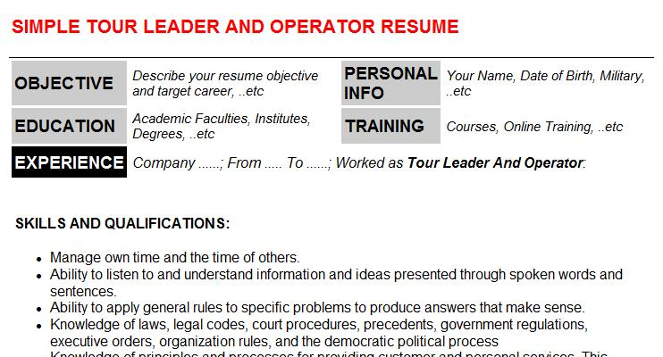 Tour Leader And Operator Resume Template