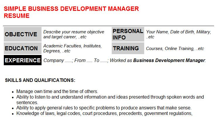 Business Development Manager Resume Template (#587)